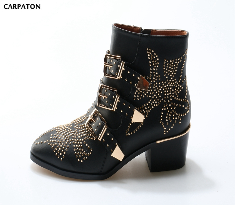 Carpaton 2018 Newest Women Black boots upper Printed with flower beads and Buckle belts Pointed Toe Low and Square heels shoes sexy women s short boots with square buckle and pointed toe design