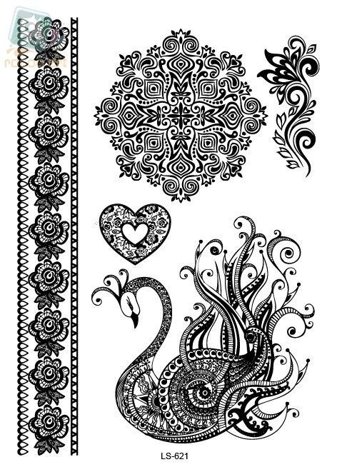 Ls619 Indian Arabic Designs Lace Flash Tribal Black White Henna