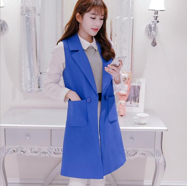 2017 new women Vest Cardigan Women waistcoat Sleeveless Vest Long Jacket Solid Colete Cardigan Coat Outwear For Famale S247