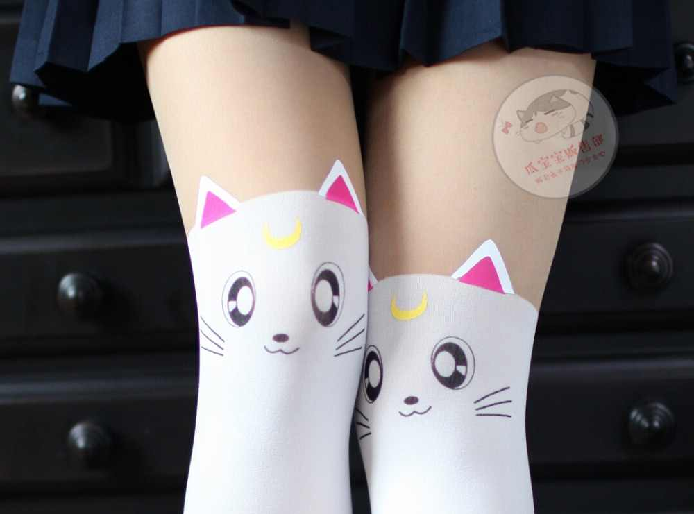 ab5304c9935a7 ... Anime Sailor Moon Cosplay Luna Cat Pattern Pantyhose Tights Socks  Stockings 3D Print Black White