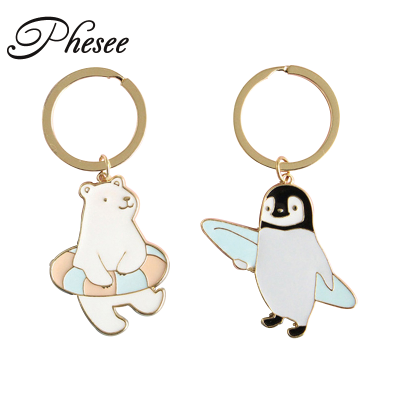 Phesee Polar Bear Penguin Keychain Gold Color Keyrings Holder Bag For Car christmas Gift For Women And Men Keychains Jewelry