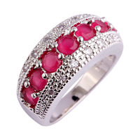 lingmei Wholesale Generous Fashion Lady Ruby & White Topaz 925 Silver Ring Jewelry For Women Size 6 7 8 9 10 11 12 Free Shipping