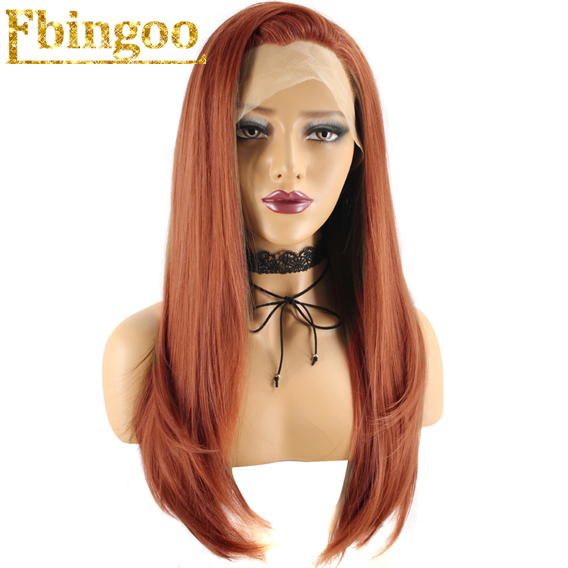 Ebingoo High Temperature Fiber Long Natural Wave Auburn Hair Orange Synthetic Lace Front Wig With Widow