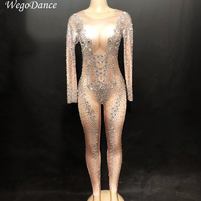 New Crystals Jumpsuit Rhinestone Bodysuit Costume Sparkly Rompers Women Outfit