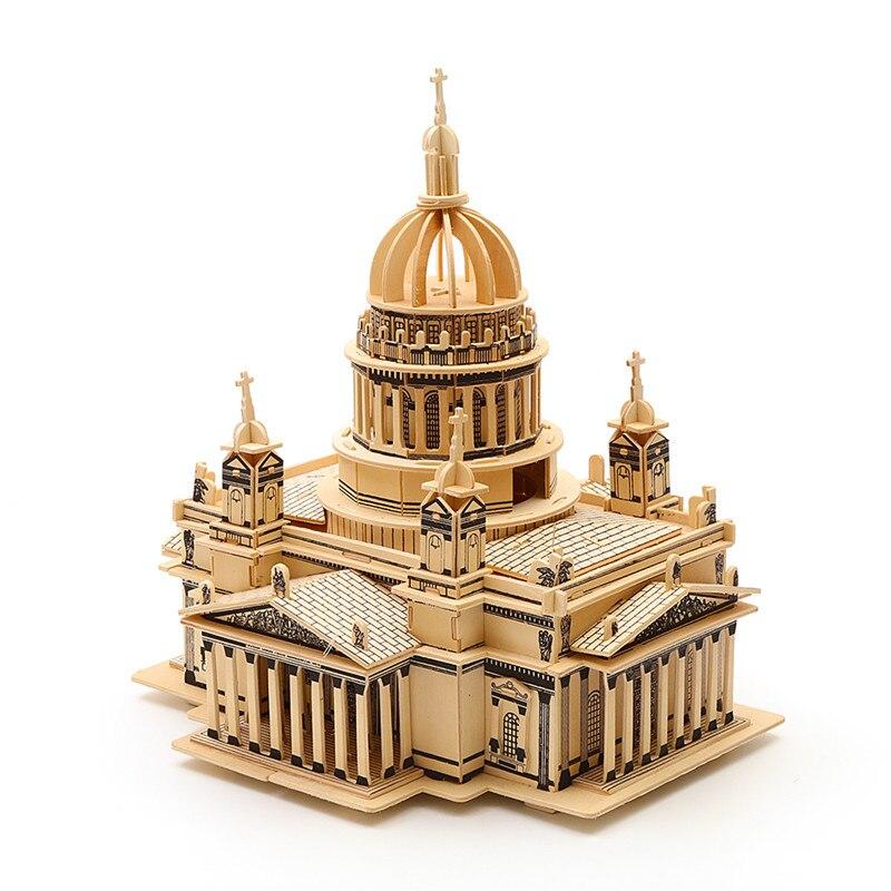 Strereo mosaïque bois Puzzle 3D haute difficulté Puzzle en bois bâtiment artisanal modèle bois bricolage artisanat - 3