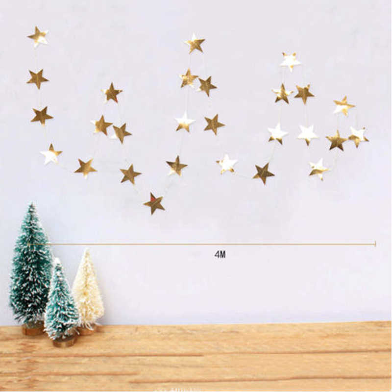 Gold Star Paper Garlands Bunting Home Wedding Party Banner Hanging Decoration Wedding Shower Party Banners Streamers Decoration