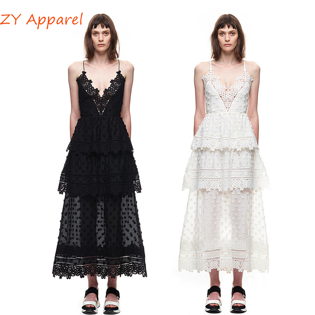 2d01866cf008 Vestidos 2016 self portrait Black White Ivy Lace Trim Midi A Line Tiered  Long Maxi Dress Strap Strappy Back Detail Free Shipping