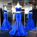 Azul royal cetim querida duas culturas peça top sereia prom dress 2017 da festa de formatura vestido formal robe de soiree longue