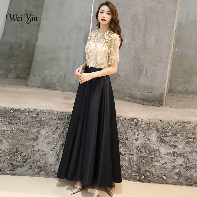 fa130ef306d3c weiyin 2019 New Design High-Neck Evening Dress Elegant Robe De Soiree Satin  With Sequined Evening Dresses Long Dresses WY974
