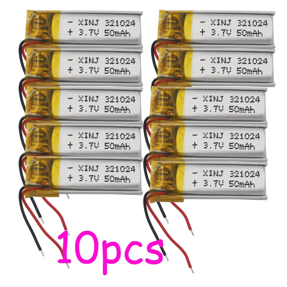 XINJ 10pcs <font><b>3.7V</b></font> 50 mAh Lithium Polymer <font><b>Battery</b></font> li po cell 321024 For bluetooth headset glasses Music player clicker smart watch image