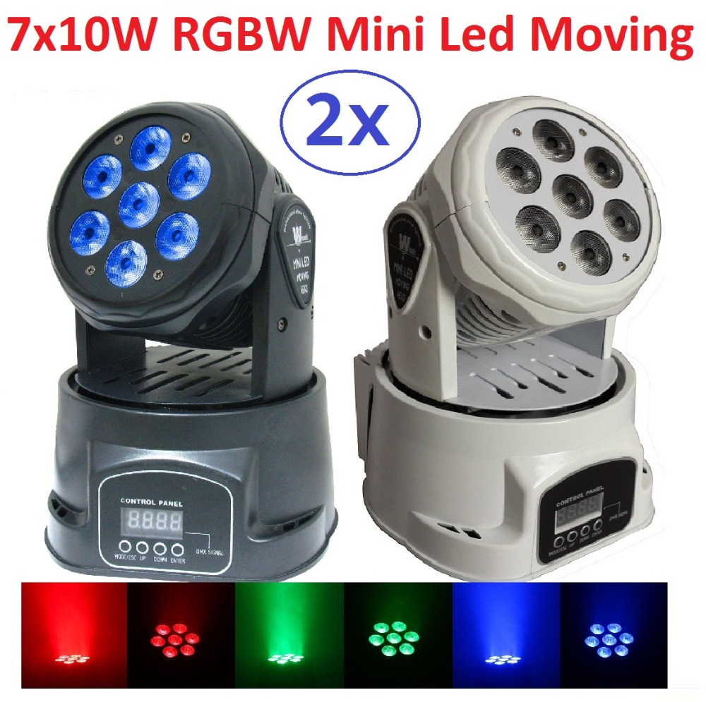 2xLot Fast Shipping LED Moving Head Lights Mini Led Wash 7x10W RGBW 4in1 Quad Stage Lights DJ Disco DMX Professional Strobe Lamp