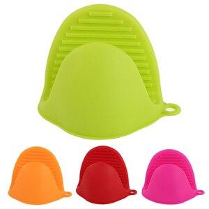 Image 1 - Serviette de cuisine avec gants en Silicone épais Anti chaud, de qualité alimentaire, isolation thermique, mallette de cuisson, plaque de cuisson, Clip à la main