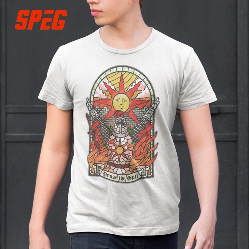 SPEG Dark Souls 3 Church of the Sun T-Shirt Praise the Sun Youth Round Neck Tees Cotton New Men's T Shirt Fashion Clothing