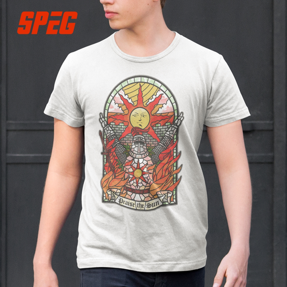 SPEG Dark Souls 3 Church of the Sun   T  -  Shirt   Praise the Sun Youth Round Neck Tees Cotton New Men's   T     Shirt   Fashion Clothing