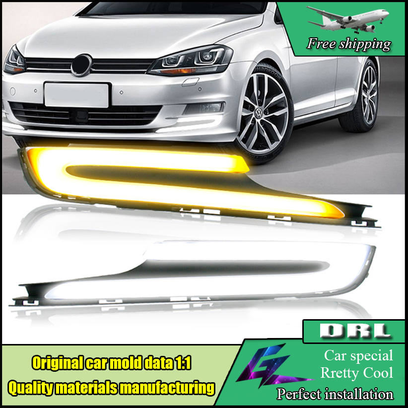 Car LED DRL daytime running light For Volkswagen VW Golf 7 MK7 2014-2017 LED yellow turn signal Super Bright Light Bar DRL Lamp auto led car bumper grille drl daytime running light driving fog lamp source bulb for vw volkswagen golf mk4 1997 2006 2pcs