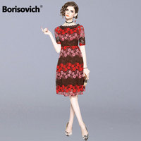 Borisovich Luxury Hollow Out Lace Elegant Party Dress New Brand 2018 Autumn Fashion Knee length A line Women Casual Dresses M916