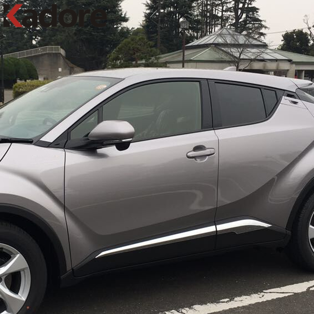 For Toyota CHR C-HR 2016 2017 2018 Chrome Side Door Lining Decoration Body Moulding Trim Bezel Styling Cover Accessories 4pcs 4pcs set chrome door body molding side trim cover for toyota c hr 2016 2017 2018 accessories