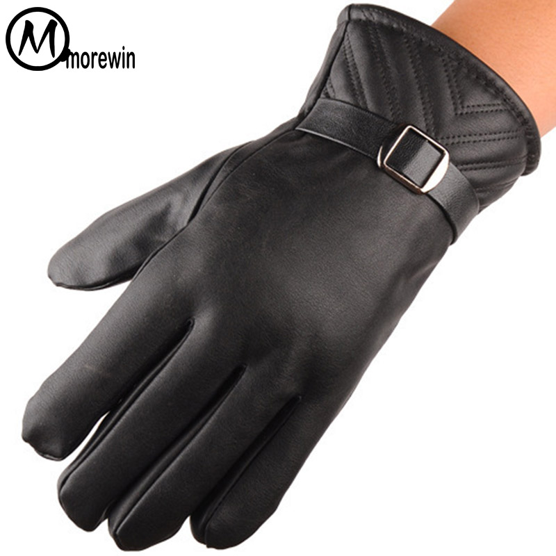 Morewin Mens Luxurious Classic Black Spring Mens Leather Gloves Outdoor Sport Driving Touch Screen Gloves Male Driving Mittens