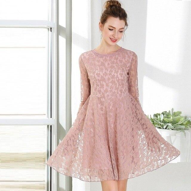 New 2018 Spring Fashion ladies Plus size elegant cute Lace Dress high end  empire flare dress beautiful vestidos M-XXXXXL 4XL 5XL ffc66a6892fe