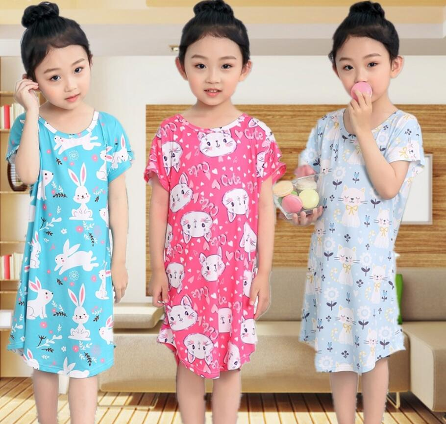 Children Pajamas Kids Long Night Gown Girls Sleepwear Short Sleeve Home Dress 2019 Nightdress Cute Cotton Summer Sleeping Dress