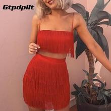 Gtpdpllt borla sin tirantes Sexy dos piezas Set vendaje vestido 2018 rojo blanco verano mujeres vestido elegante Mini vestidos de partido del Club