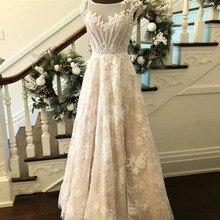 BRITNRY Vintage Wedding Dress 2018 Lace Scoop Beaded Pearls