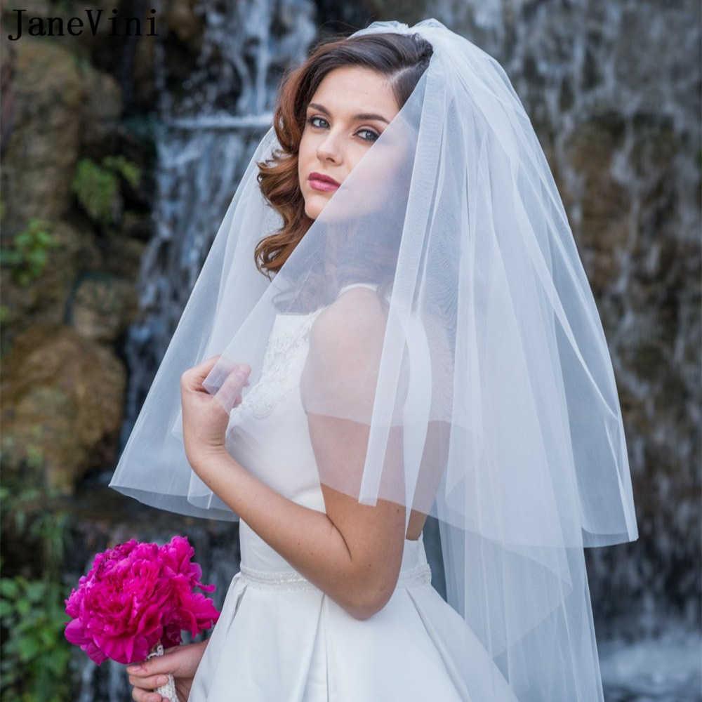 JaneVini ショートウェディングベール安い 2 層肘の長さベールふわふわティアチュールブライダルベール花嫁シンプルな結婚式のアクセサリー