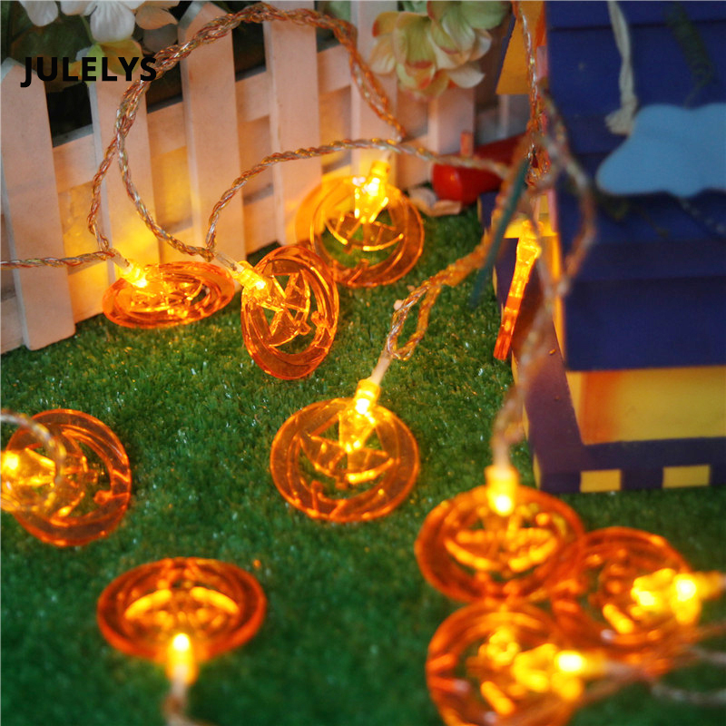 JULELYS 5M 20 Bulbs Garland LED Lights Pumpkin String Lights Party Christmas Gerlyanda for Home Room Decor Halloween Decorations