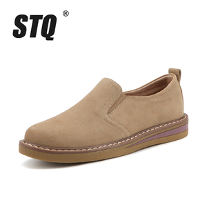 Image 2 - STQ 2020 Autumn Women Flats Sneakers Shoes Women Slip On Flat Loafers Suede Leather Shoes Handmade Boat Shoes Black Oxfords 978