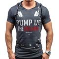Short Sleeve Hooded Male Sleeved T-shirt Slim Tights Primer  Navy Brand Clothing Hot Sale Hilefiger Yeezus Shirt Fitness