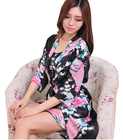 Brand New 2014 Silk Women Nightgown Robe Sets 2014 Brand Sleepwear Set Silk Nighties Sleepwear Silk Robe Women Sleepwear WD1636