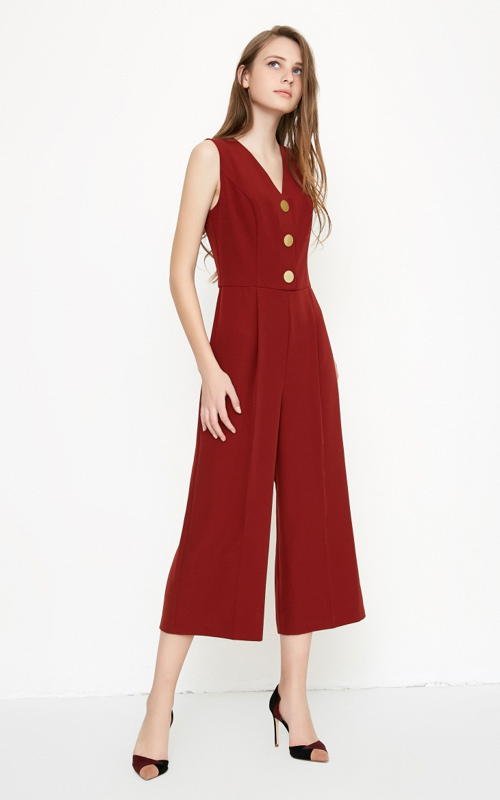 Vero Moda spring fashionable V-collar loose-leg cropped Jumpsuits for women |318144507 10