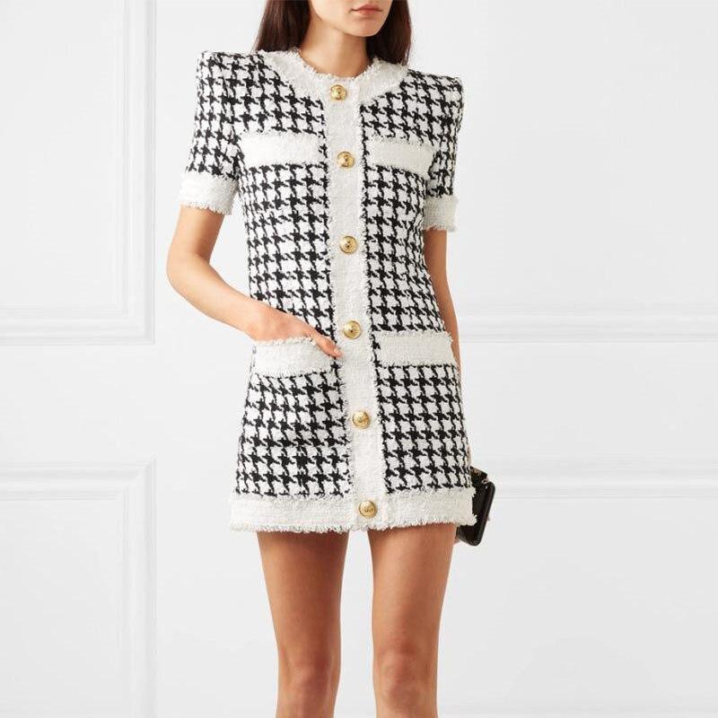 high quality runway wool tweed dresses women gold button plaid pockets mini dress short sleeve office lady OL woolen dress F321