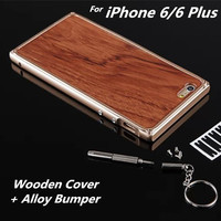 New !! Luxury Style cell phone case for iPhone 6 4.7 Wood Back Housing cover Luxury metal Frame For iPhone 6S Plus 5.5 inch