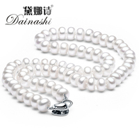 New Fashion Vintage Pearl Necklace For Women 100 Natural Freshwater Pearl High Quality Silver Plated Gift