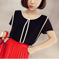 blusas women blouses tops cheap clothes china blusa blouse plus size roupa feminina clothing summer chiffon o-neck new Splicing