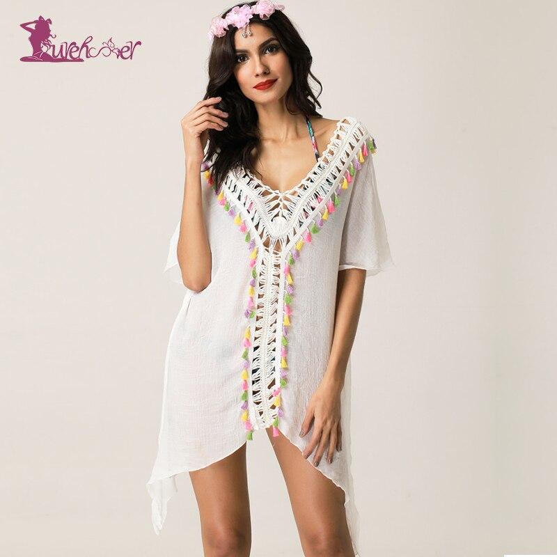 Lurehooker Sexy Bikini Swimsuit Beach Cover Crochet Dress Beach V-neck Bathing Suits Cover Tassel Robe Swimwear Solid Beachwear