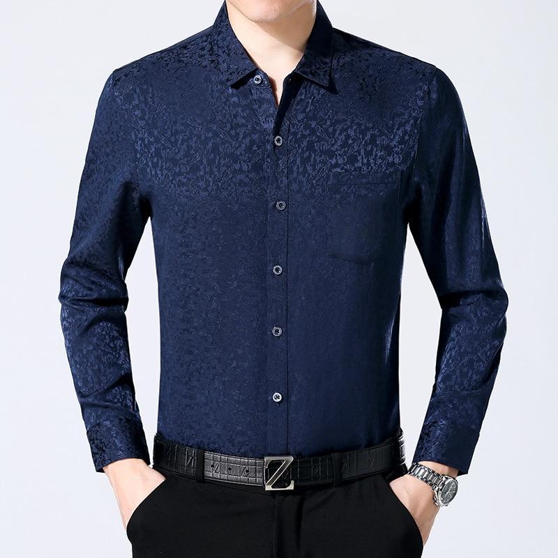 92% Zijde Lange Mouwen Mannen Losse Zijden Shirt Business Leisure Dunne - 4
