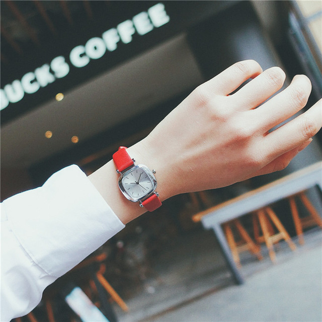 Leather Square Dial Stylish Small Women's Watch 1