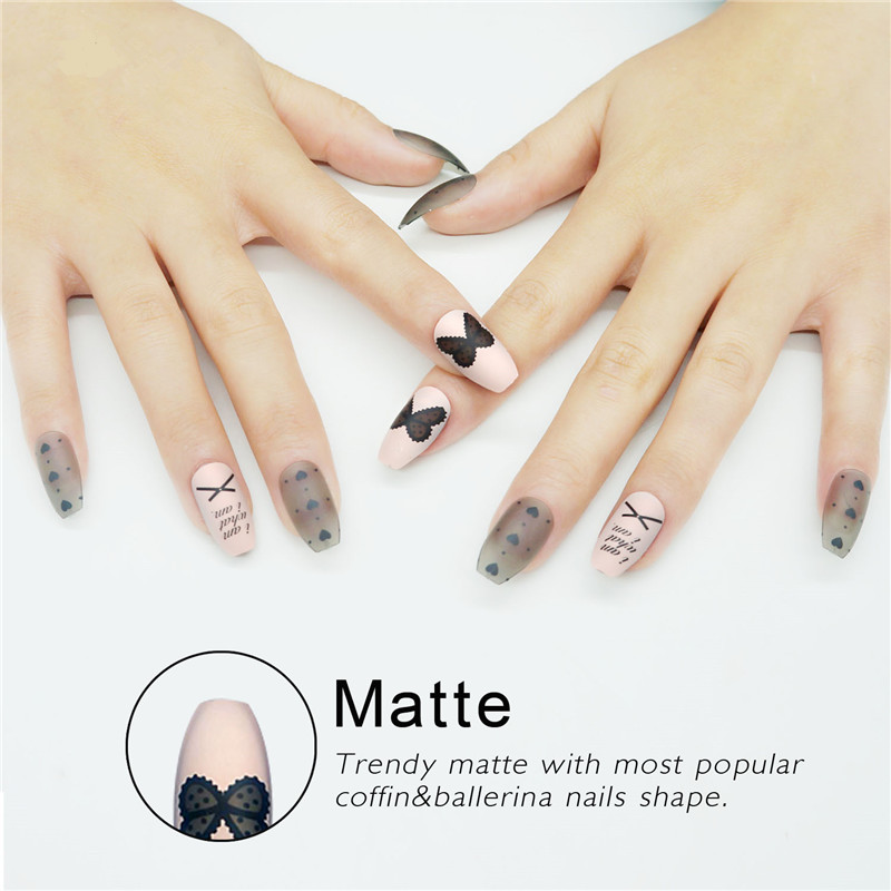 Full Cover Bow Pattern Ballerinas Fake Nails with Designs Heart ...