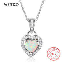 Real 100% S925 Sterling Silver Luxury Heart Shape Opal Pendant Necklace Jewelry Women Chain Necklaces Birthday Gifts For Wife