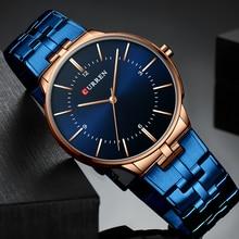 カレンレロジオ男性腕時計ファッションブルー男2019ラグジュアリーブランド防水クォーツアナログ腕時計男性リロイhombre