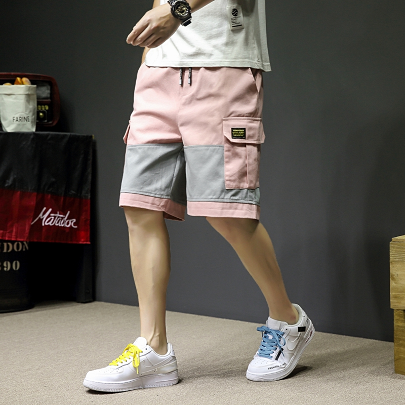 2019 Summer Style Hip Hop Harem Shorts Knee Length Streetwear Shorts Mens Big Pockets Pink Cargo Shorts LBZ114