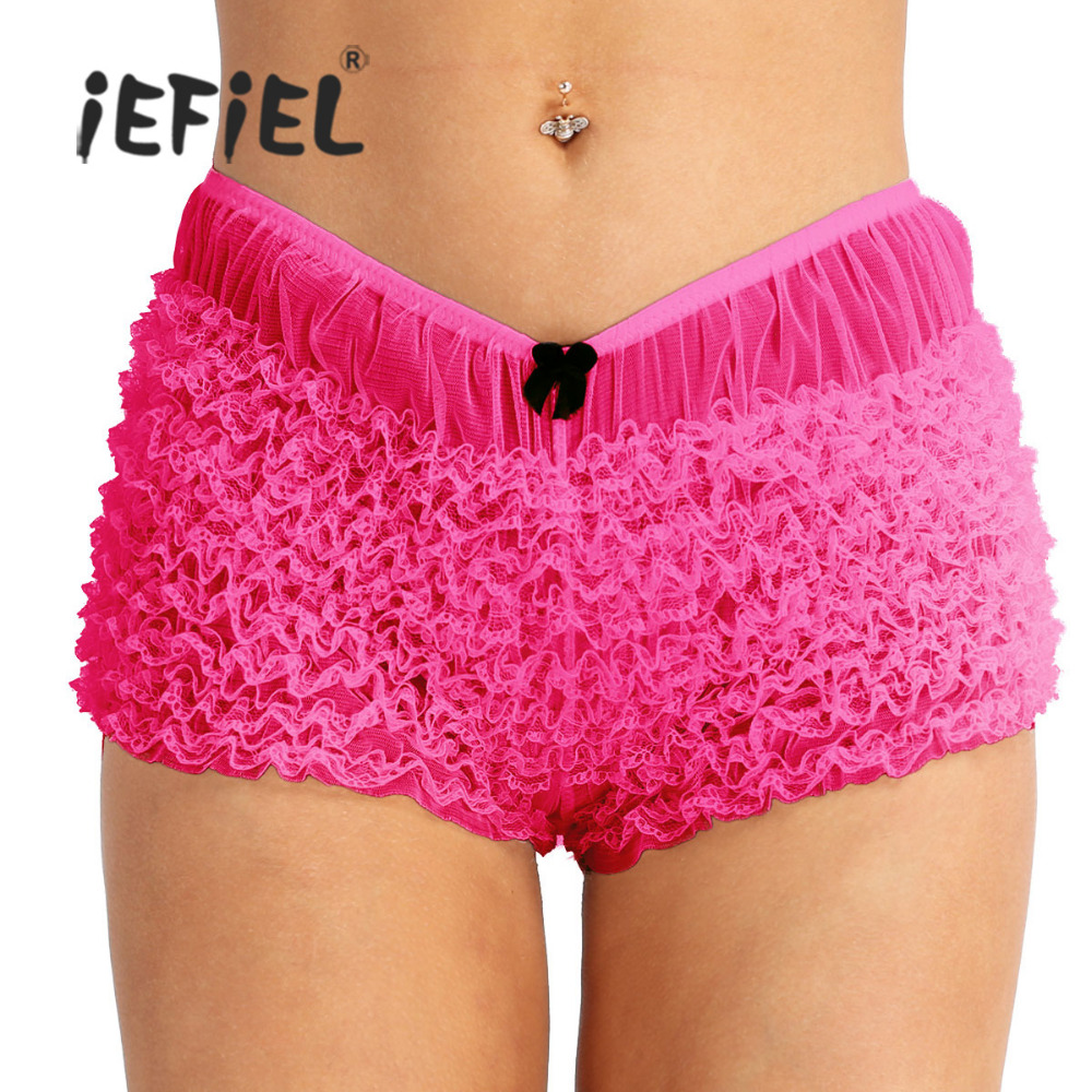Plus Size Women Ruffle Lace Bloomers Panties Burlesque Pettipants Boyshorts