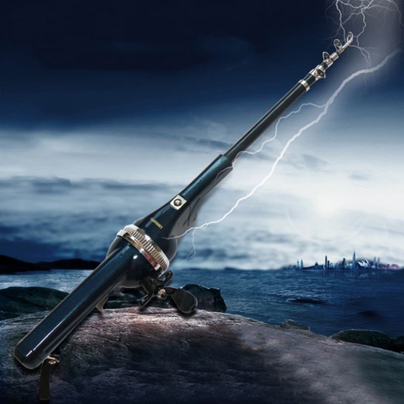 A folding type of sea pole suitable for light and short fishing rod. One like a gun