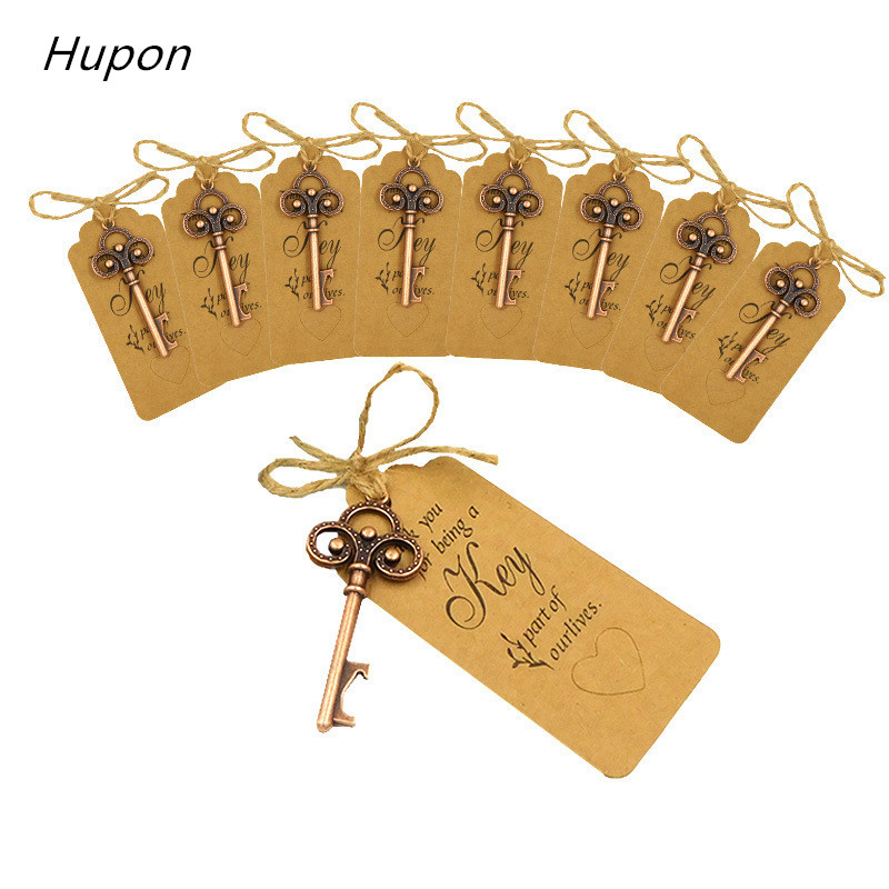 50pcs Rustic Wedding Souvenirs Skeleton Bottle Openers +Tags Vintage Wedding Favors Gifts for Guest  Party Favors Thank You Card