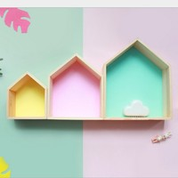 INS 2pcs/Lot Nordic Style Wooden House Shelf Wall Decor DIY Wall Hanging Doll Houses Furniture For Children Kids Room Ornaments
