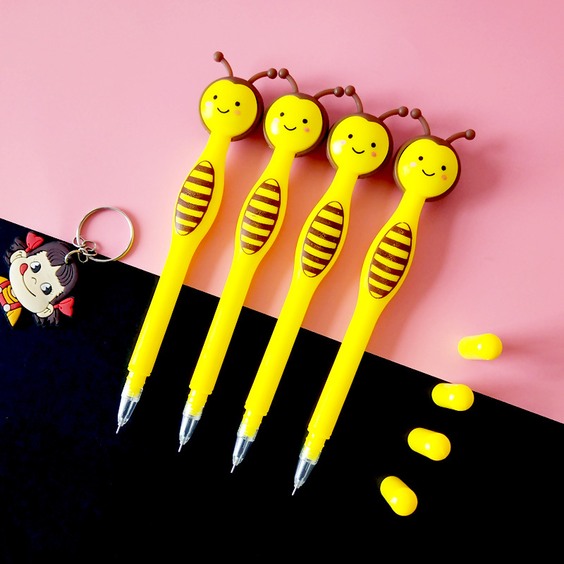 Image 2 - 50 sztuk Cartoon Little Bee długopis żelowy kreatywny śliczne biurowe uczeń czarny długopis prezenty dla dzieciDługopisy żelowe   -