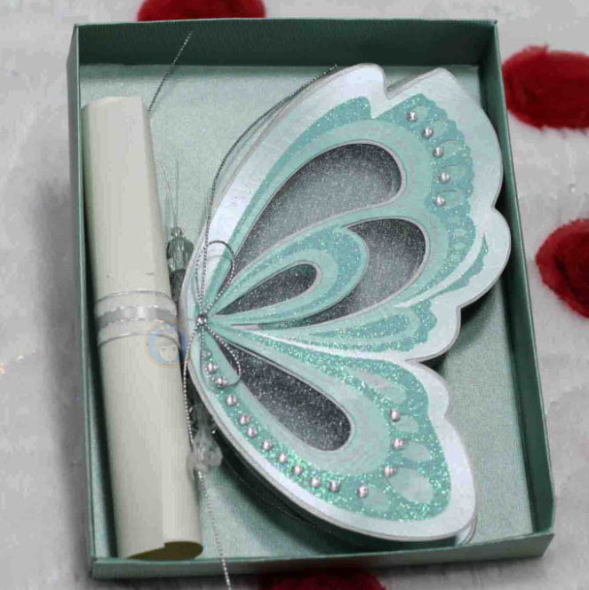 Luxury Blue Elegant Butterfly Wedding Invitations and Scroll Blank – Elegant Butterfly Wedding Invitations