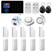 PGST PG-103 Wireless Home Burglar Security LCD Touch Keyboard SIM GSM GPRS Alarm System Sensor kit APP Remote Control RFID card 433 mhz lcd display wifi gsm security alarm system smart home automation gprs sms alarm kit touch keyboard infrared detector